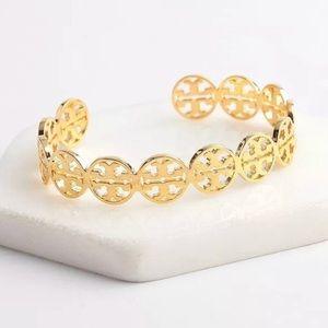Tory Burch NWOT Gold T Logo Cuff Bracelet